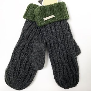 MWT Michael Kors green gray cable knit mittens